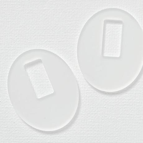 acrylic【 Parts L オーバルフロストホワイト】イヤリングパーツ  アクリリック