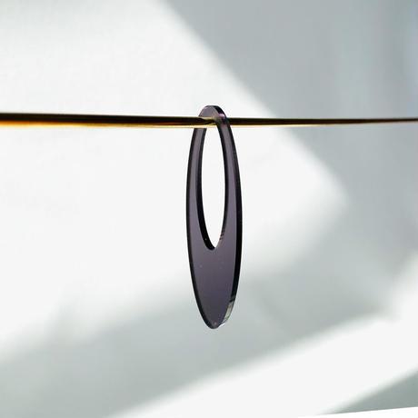 acrylic【ロングオーバル グレー】GUM EARRING parts アクリリック 坂雅子