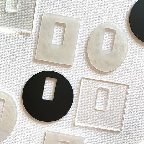 acrylic【 Parts L オーバル レッド】イヤリングパーツ  アクリリック