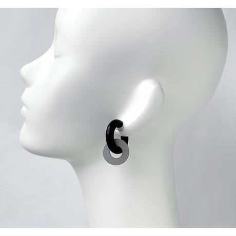 acrylic【GUM ブラック + サークル小 アルミ シルバー】GUM Earring +Parts SET ゴムイヤリング アクリリック 坂雅子 イヤーカフ