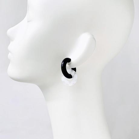 acrylic【サークル小 3D ホワイト スモールドット 】GUM EARRING parts アクリリック 坂雅子