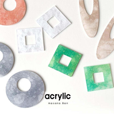 acrylic【サークル大 ピンク 和紙】GUM EARRING parts アクリリック 坂雅子