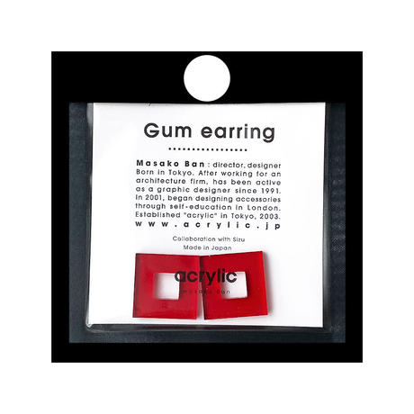 acrylic【スクエア小 レッド】GUM EARRING parts アクリリック 坂雅子