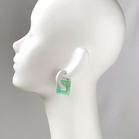 acrylic【スクエア小 グリーン 和紙】GUM EARRING parts アクリリック 坂雅子