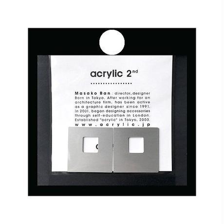 acrylic【スクエア大 アルミシルバー】 Aluminium Parts ゴムイヤリング