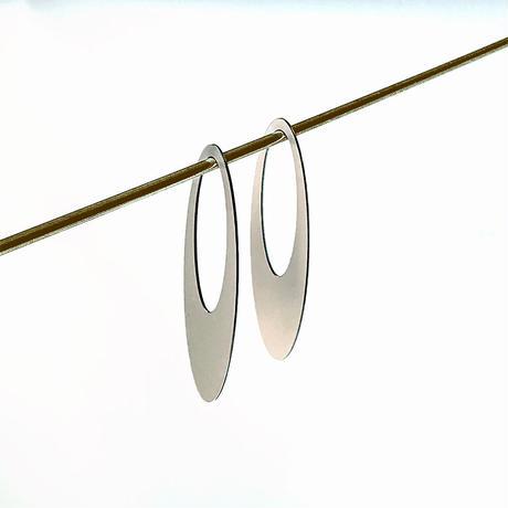 Stores店限定  acrylic【ロングオーバル アルミ シルバー】 Aluminium Parts ゴム イヤリングパーツ アクリリック 坂雅子