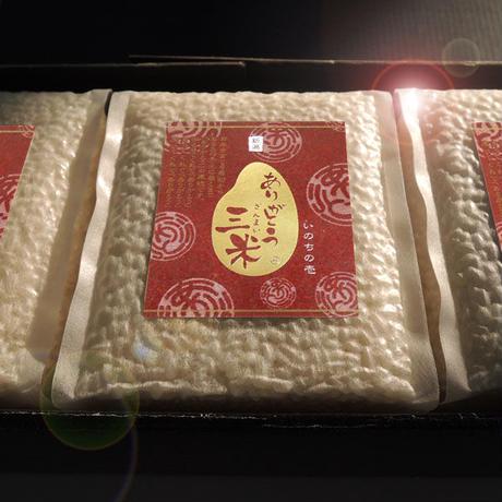 新潟産いのちの壱 ギフトセット 1.35kg  (450g✕3) ありがとう三米 [超大粒米] 真空ブリックパック 契約栽培米シリーズ