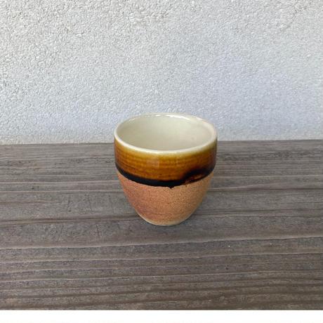 ウォーク型湯呑(小)飴/白/呉須下焼き締め (13)