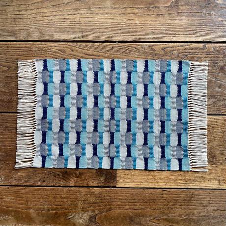 やまもも染 市松織 テーブルセンター(小) 3色 緑×紺×グレー (j-3-3)