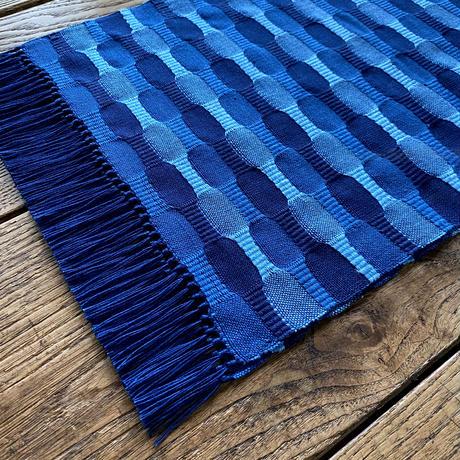 藍染 市松織 テーブルランナー 3色 紺×納戸×水浅葱 (b-5-3)
