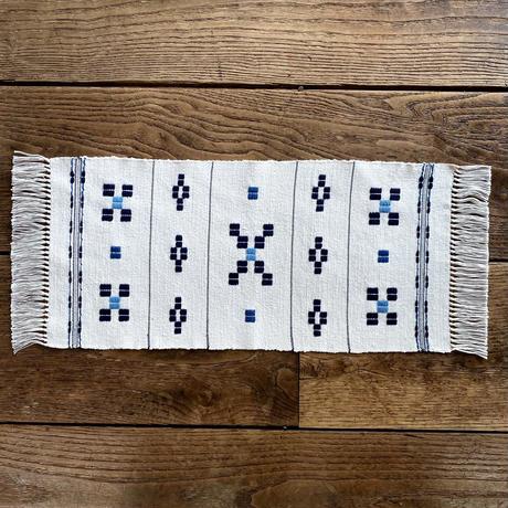 むしろ織 テーブルセンター 紺×水浅葱 (n-3-1)