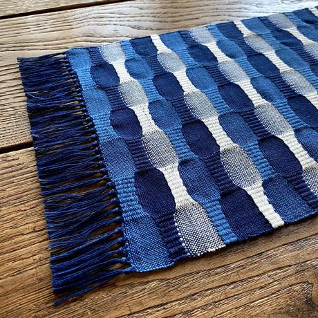 藍染 市松織 花瓶敷き(中) 3色 紺×納戸×白 (b-1-3)