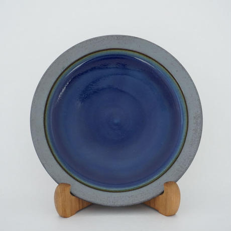 縁鉄砂呉須釉皿(7寸/約21㎝)呉須・縁鉄 (01)