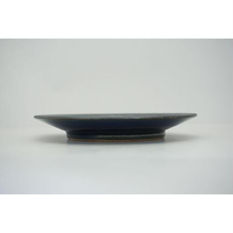 縁鉄砂呉須釉皿(6寸/約18㎝)呉須・縁鉄 (01)
