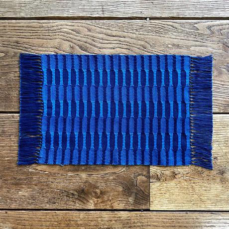 藍染 市松織 花瓶敷き(中) 2色 紺×納戸 (b-1-1)