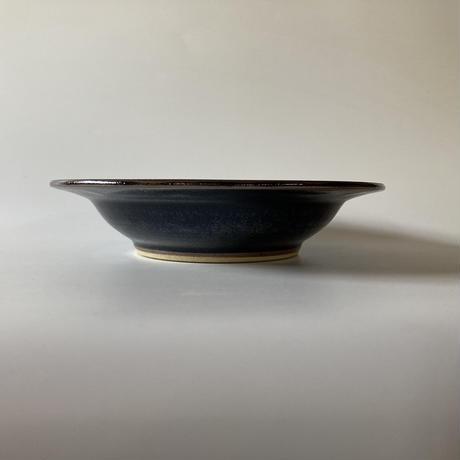 縁付深鉢(8寸/約4cm)黒・縁鉄砂 (06)