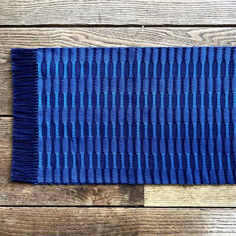 藍染 市松織 テーブルランナー 2色 紺×納戸 (b-5-1)