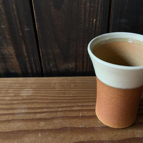 焼締めビールカップ(大 口径約8.5㎝・高さ約12㎝)白 (06)