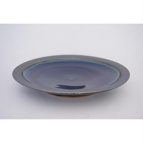 縁鉄砂呉須釉皿(尺/約30㎝)呉須・縁鉄 (08)