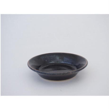縁付平皿(3.5寸/約10.5㎝)黒 (08)