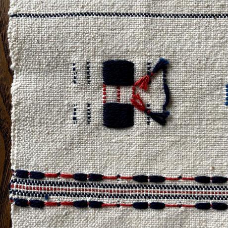 むしろ織 テーブルセンター 紺×赤 (n-3-2)