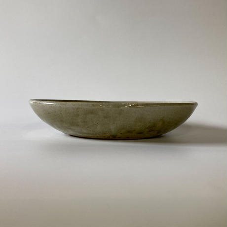 ロクロ楕円深皿(7寸/約24cm×19cm) 灰 (03)