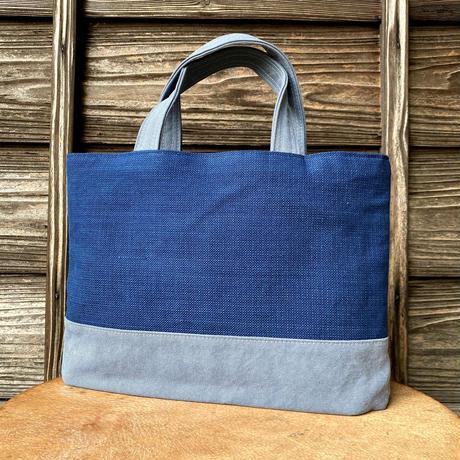 トートバッグ 藍染+帆布(ブルーグレー) (a-13-9)