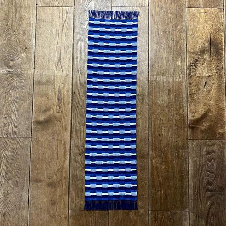 藍染 市松織 テーブルランナー 3色 紺×納戸×白 (b-5-2)