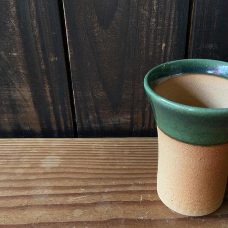 焼締めビールカップ(大 口径約8.5㎝・高さ約12㎝)緑 (06)