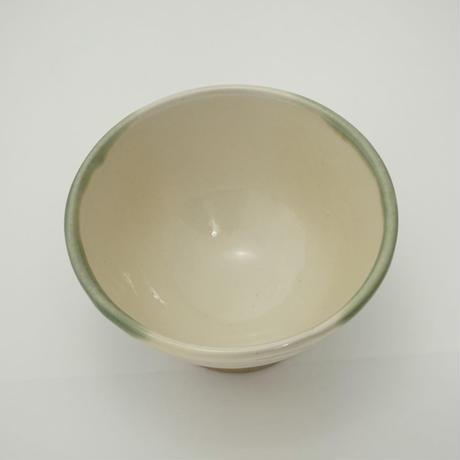 ご飯茶碗(小 口径約11.5cm・高さ約6.5cm)緑掛け流し/牡丹刷毛目 (09)