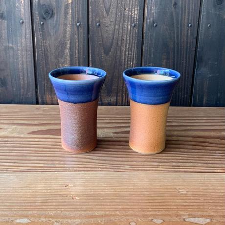 焼締めビールカップ(大 口径約8.5㎝・高さ約12㎝)呉須 (06)