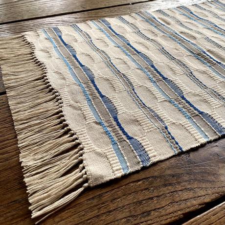 やまもも染 市松織 テーブルセンター(小) ベージュ地 納戸×グレー×水浅葱 (j-3-4)