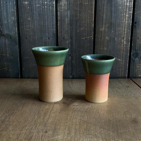 焼締めビールカップ(中 口径約7.5㎝・高さ約10.5㎝)緑 (06)