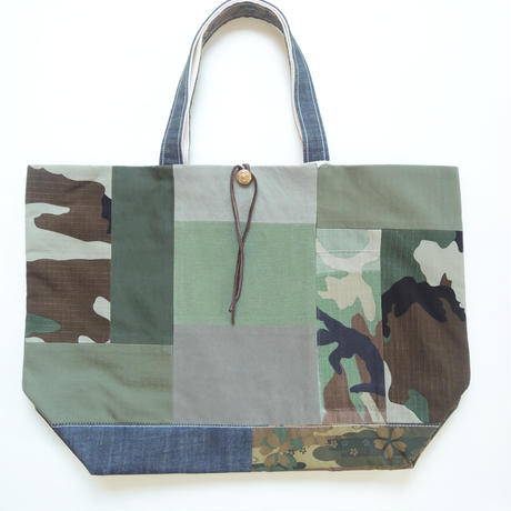 REMADE Patchwork TOTE BAG Large(L) Size. JAPAN CAMOパッチワーク