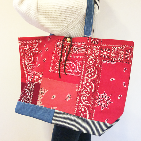 REMADE Patchwork TOTE BAG Large (L) Size. 国産4号帆布×ヒッコリー