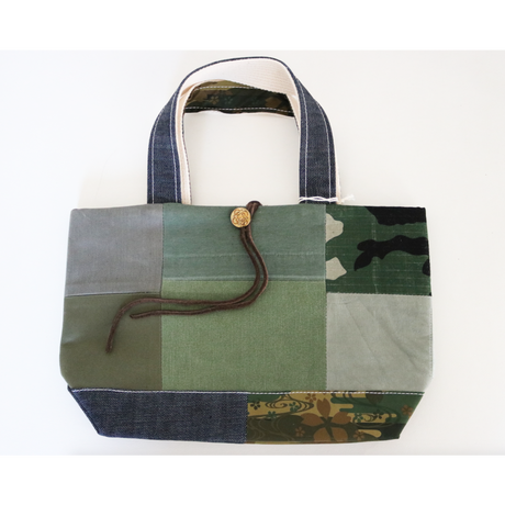 REMADE Patchwork TOTE BAG Small Size. (S) CAMO×デニム
