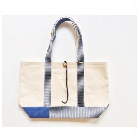REMADE Patchwork TOTE BAG Midiam(M)Size. 国産4号帆布×ヒッコリー