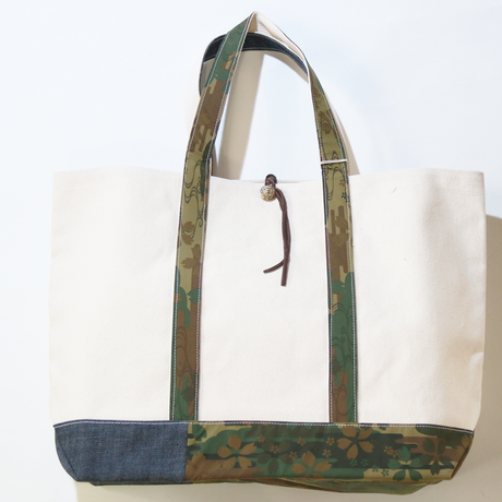 REMADE Patchwork TOTE BAG Large (L) Size. 国産4号帆布×ジャパンCAMO