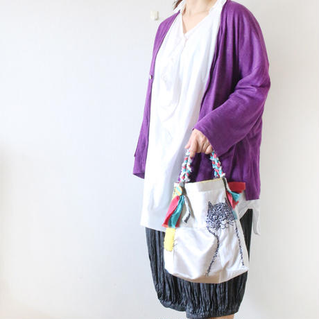受注製作☆刺繍バッグ「ハナとネコとクモ」再販5