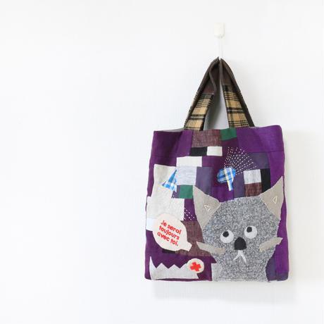ちくちく2‐faced bag-手提げ「cat」