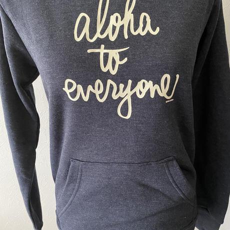 aloha to everyone かぶりパーカー ヘザーネイビー WOMEN'S