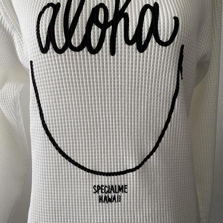 aloha smile ヘビーウェイトワッフルロングスリーブTシャツ ホワイト Men's size S