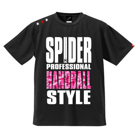 REAL SPIDERハンドボールTシャツ  SP-T01   ブラック×迷彩ピンク