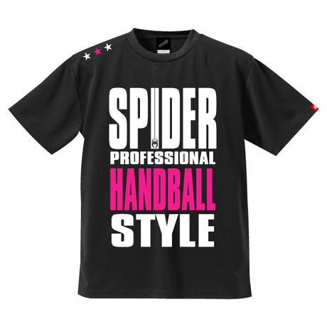 REAL SPIDERハンドボールTシャツ  SP-T01   ブラック×ネオンピンク