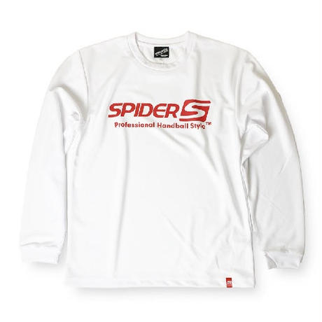 SPIDERドライL/STシャツ ホワイト×レッド/アウトレット商品