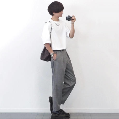 CHECK WIDE TROUSERS【GRAY】 L218