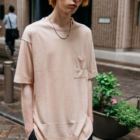 モダールレイヤードTシャツ【ピンク】 L-16