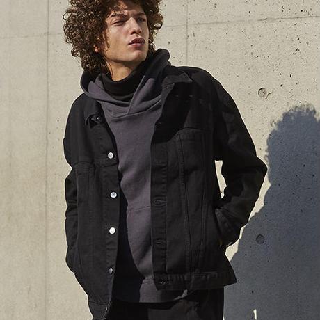ユーズドオフショルダーデニムジャケット【ブラック】L-40