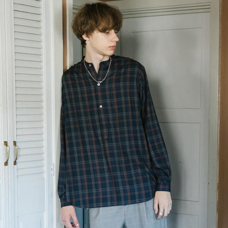復刻BAND COLLAR CHECK SHIRT【NAVY】 L138