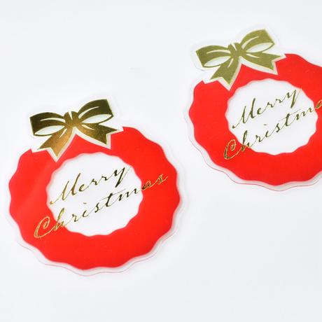 XT006【クリスマスピック・透明クリアシリーズ】Christmas Wreath<レッド>100枚入り